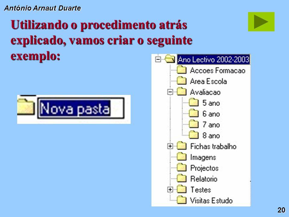 20 António Arnaut Duarte Utilizando o procedimento atrás explicado, vamos criar o seguinte exemplo: