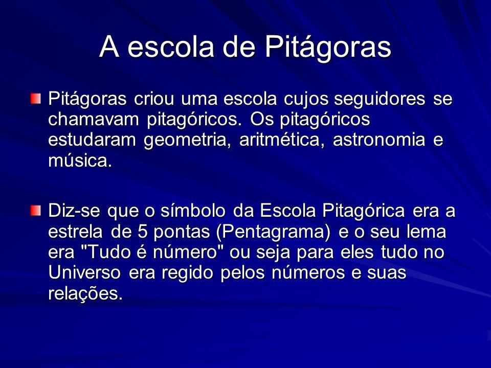 A escola de Pitágoras Pitágoras criou uma escola cujos seguidores se chamavam pitagóricos. Os pitagóricos estudaram geometria, aritmética, astronomia