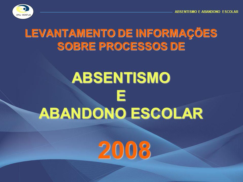 LEVANTAMENTO DE INFORMAÇÕES SOBRE PROCESSOS DE ABSENTISMO E ABANDONO ESCOLAR 2008 ABSENTISMO E ABANDONO ESCOLAR CPCJ MONTIJO