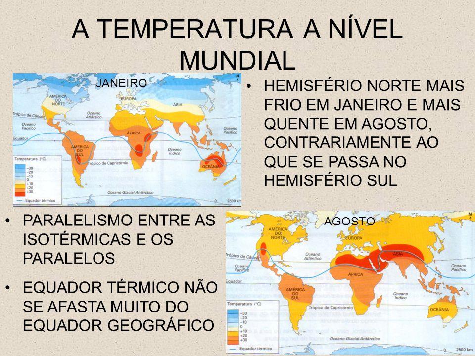A TEMPERATURA A NÍVEL MUNDIAL JANEIRO JULHO INFLEXÃO DAS ISOTÉRMICAS NOS CONTINENTES PARA SUL NO MÊS DE JANEIRO E PARA NORTE EM JULHO ÁREAS JUNTO AO EQUADOR MANTÉM QUASE SEMPRE AS MESMAS TEMPERATURAS, ENQUANTO OUTRAS SE VERIFICAM GRANDES AMPLITUDES TÉRMICAS