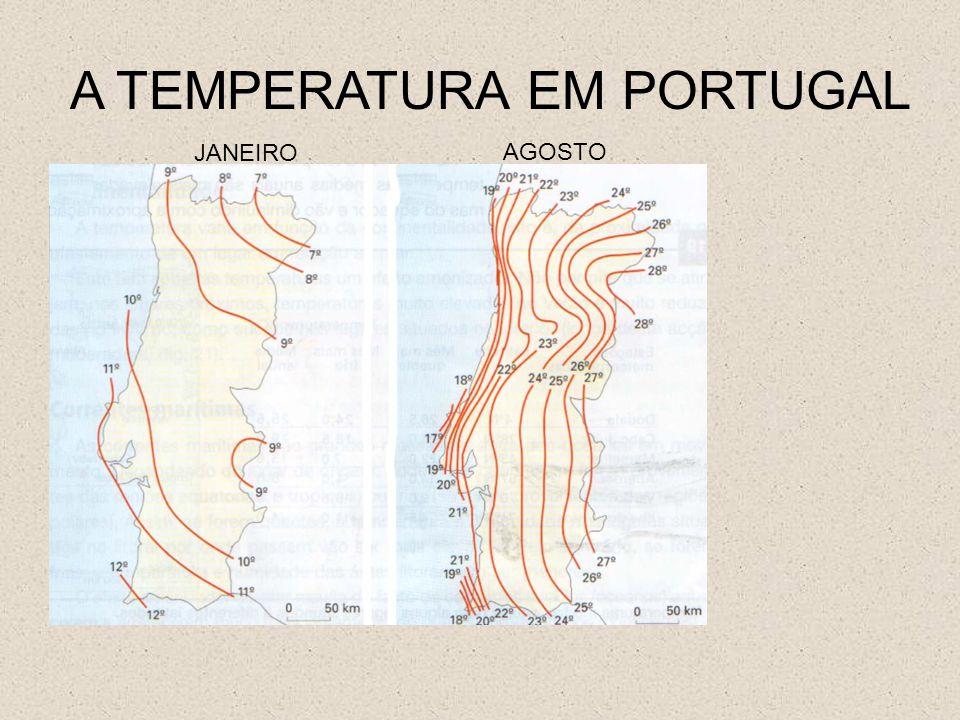A TEMPERATURA EM PORTUGAL AGOSTO JANEIRO