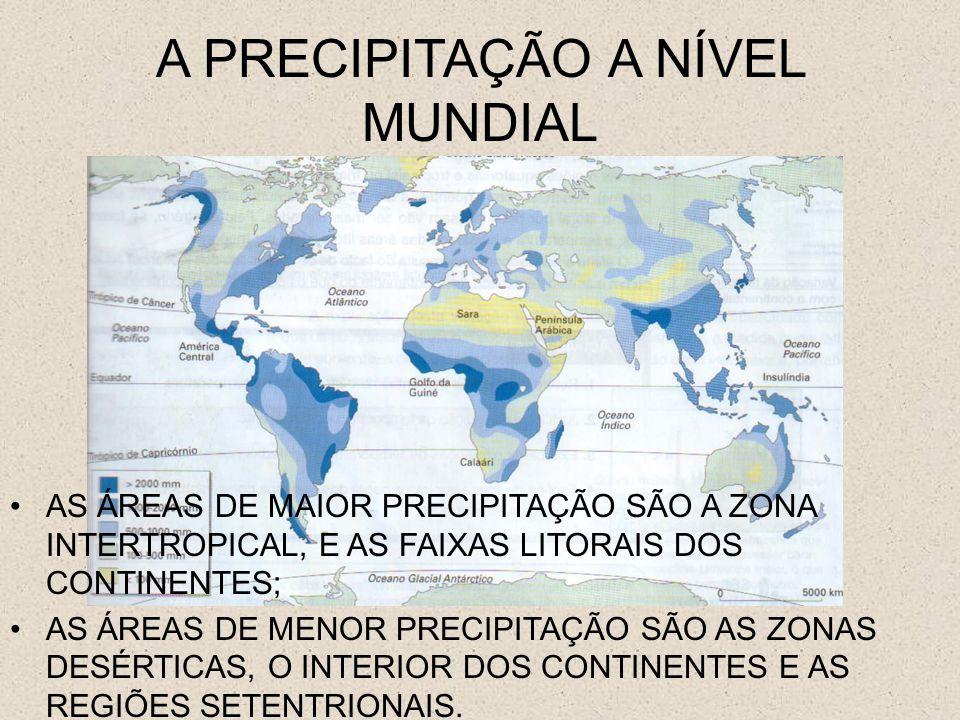 A PRECIPITAÇÃO EM PORTUGAL AS ÁREAS DE MAIOR PRECIPITAÇÃO SÃO LITORAL NORTE E O CENTRO DO PAÍS; AS ÁREAS DE MENOR PRECIPITAÇÃO SÃO O SUL DO PAÍS E PRATICAMENTE TODO O INTERIOR.