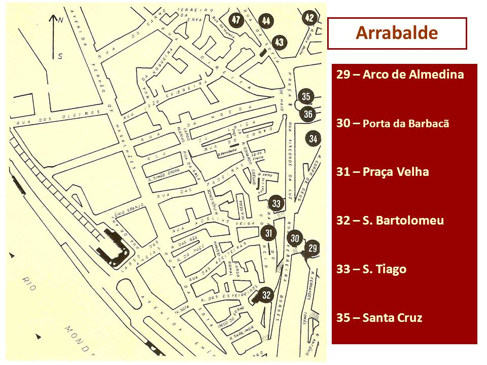 Arrabalde 29 – Arco de Almedina 30 – Porta da Barbacã 31 – Praça Velha 32 – S. Bartolomeu 33 – S. Tiago 35 – Santa Cruz