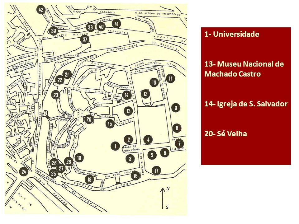 1- Universidade 13- Museu Nacional de Machado Castro 14- Igreja de S. Salvador 20- Sé Velha