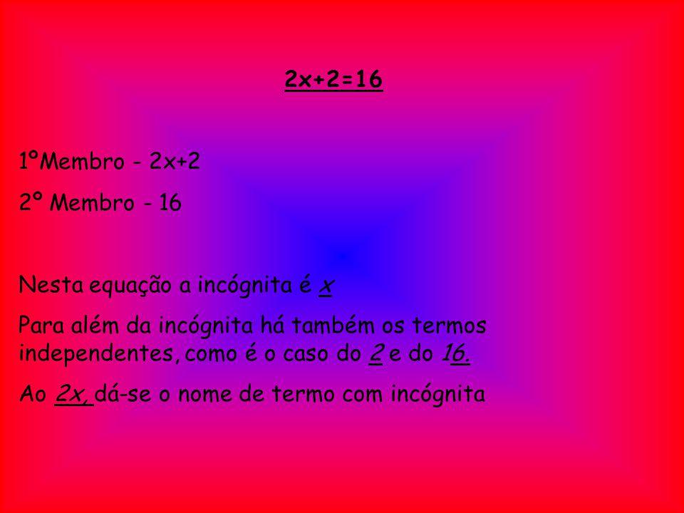 2x+2=16 1ºMembro - 2x+2 2º Membro - 16 Nesta equação a incógnita é x Para além da incógnita há também os termos independentes, como é o caso do 2 e do