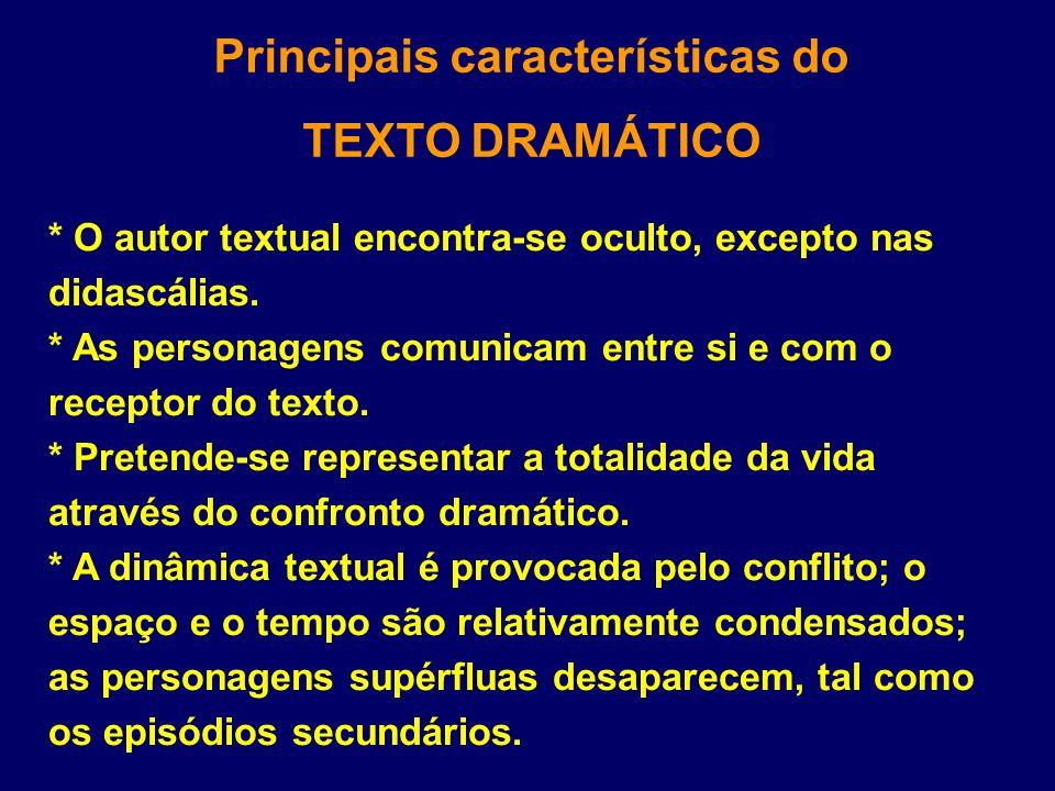 Principais características do TEXTO DRAMÁTICO * O autor textual encontra-se oculto, excepto nas didascálias. * As personagens comunicam entre si e com