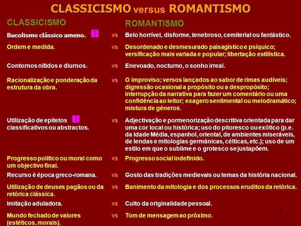 1 CLASSICISMOROMANTISMO CLASSICISMO versus ROMANTISMO CLASSICISMO ROMANTISMO Bucolismo clássico ameno. Belo horrível, disforme, tenebroso, cemiterial
