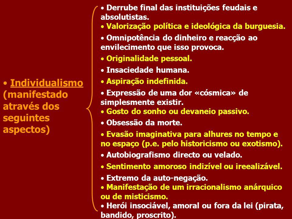 2 Individualismo (manifestado através dos seguintes aspectos) Derrube final das instituições feudais e absolutistas. Valorização política e ideológica