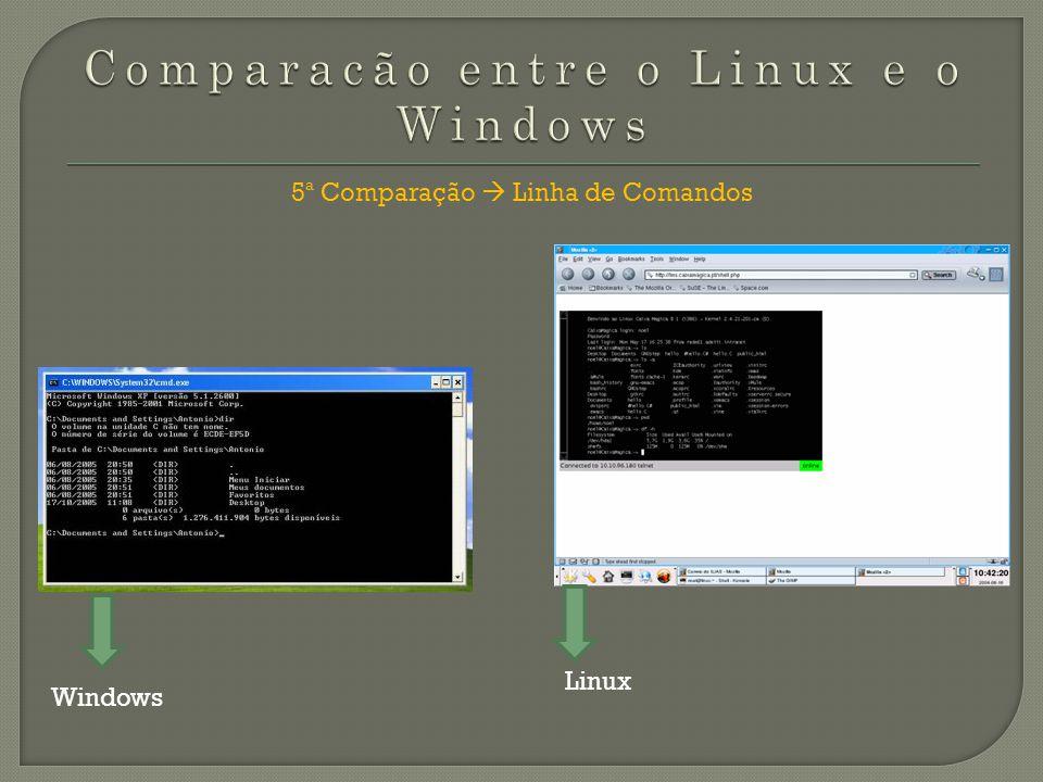 5ª Comparação Linha de Comandos Windows Linux
