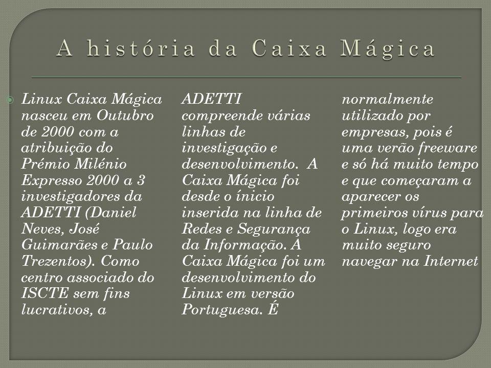 Linux Caixa Mágica nasceu em Outubro de 2000 com a atribuição do Prémio Milénio Expresso 2000 a 3 investigadores da ADETTI (Daniel Neves, José Guimarã