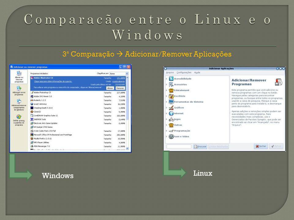 3ª Comparação Adicionar/Remover Aplicações Windows Linux