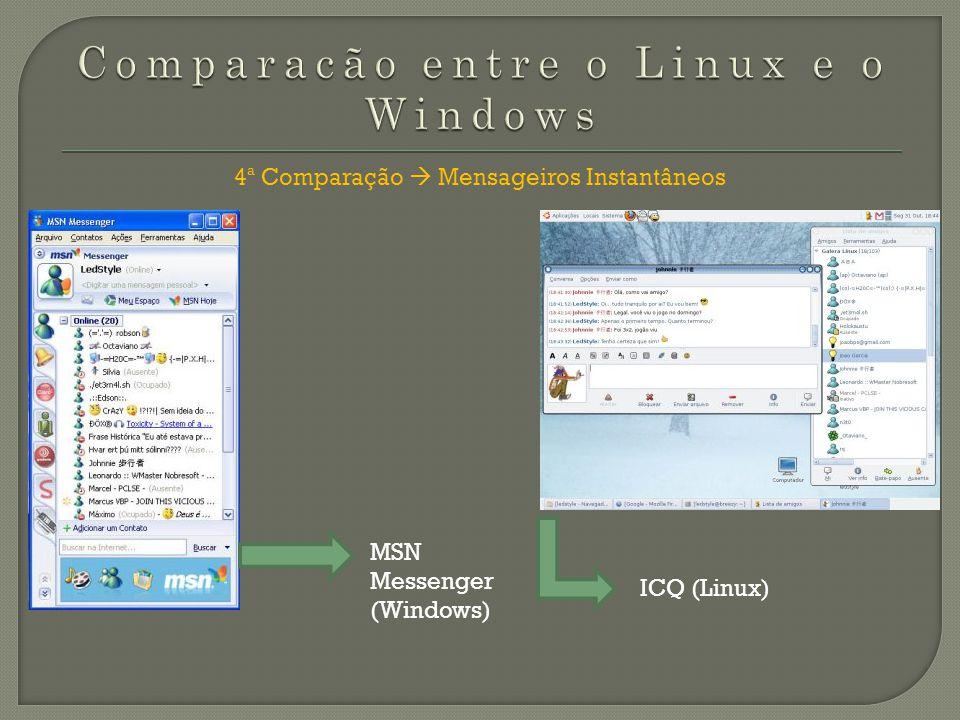 5ª Comparação Microsoft Office Vs. Open Office Microsoft Office (Windows) Open Office (Linux)