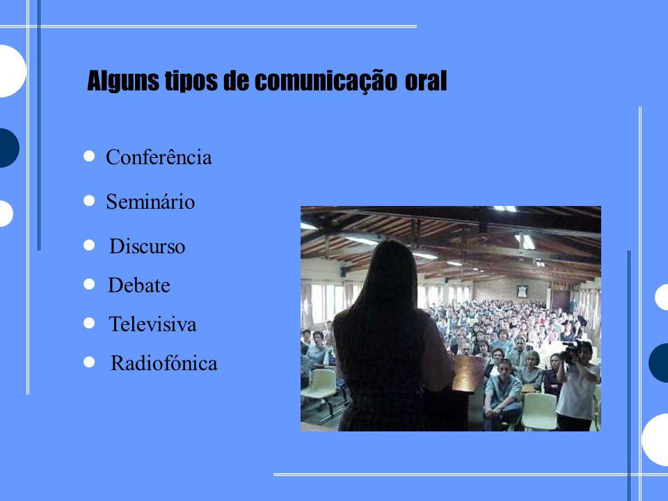 Alguns tipos de comunicação oral Televisiva Debate Discurso Radiofónica Seminário Conferência