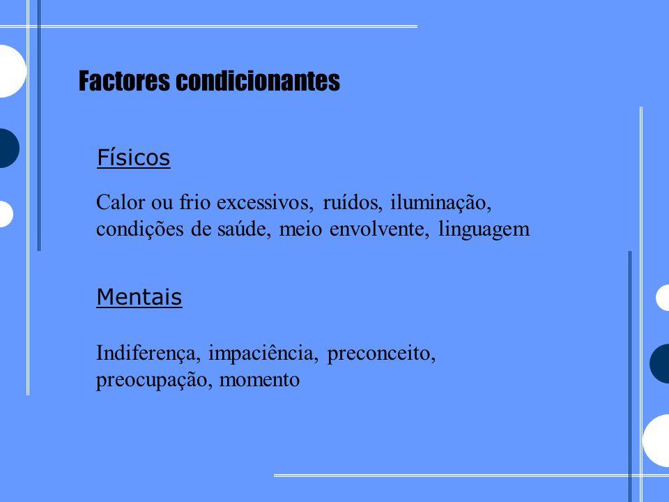 Factores condicionantes Físicos Mentais Calor ou frio excessivos, ruídos, iluminação, condições de saúde, meio envolvente, linguagem Indiferença, impa