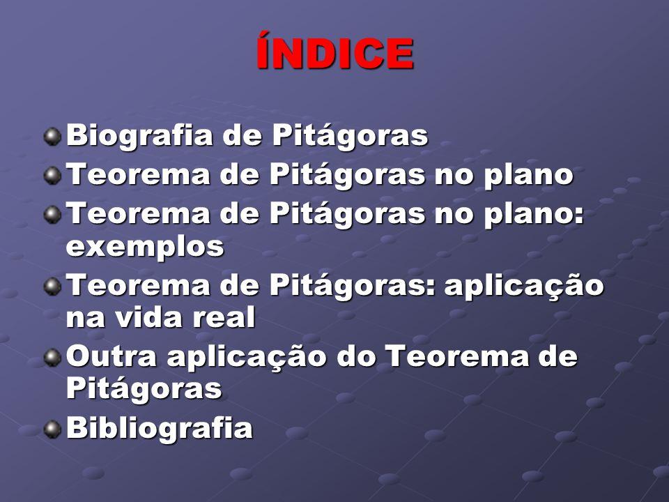 ÍNDICE Biografia de Pitágoras Teorema de Pitágoras no plano Teorema de Pitágoras no plano: exemplos Teorema de Pitágoras: aplicação na vida real Outra