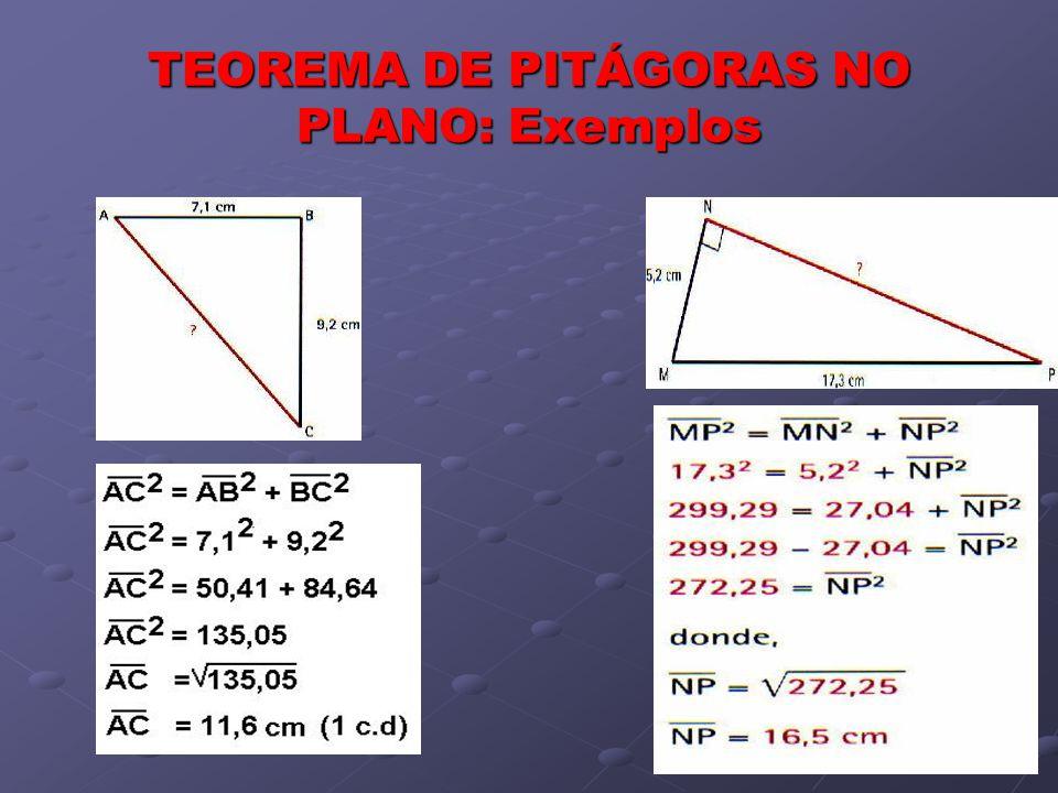 TEOREMA DE PITÁGORAS: Aplicação na vida real Pitágoras começou por estudar o teorema no plano, mas a aplicação do teorema em triângulos rectângulos que se definem no espaço permite-nos resolver muitos outros problemas.