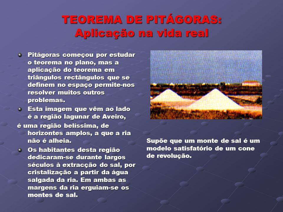 TEOREMA DE PITÁGORAS: Aplicação na vida real Pitágoras começou por estudar o teorema no plano, mas a aplicação do teorema em triângulos rectângulos qu