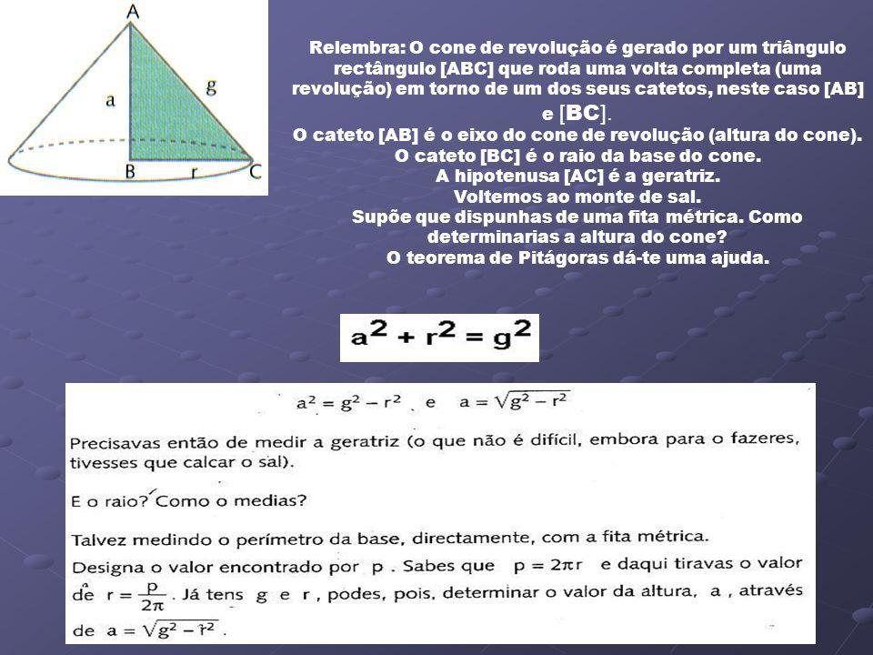 Relembra: O cone de revolução é gerado por um triângulo rectângulo [ABC] que roda uma volta completa (uma revolução) em torno de um dos seus catetos,