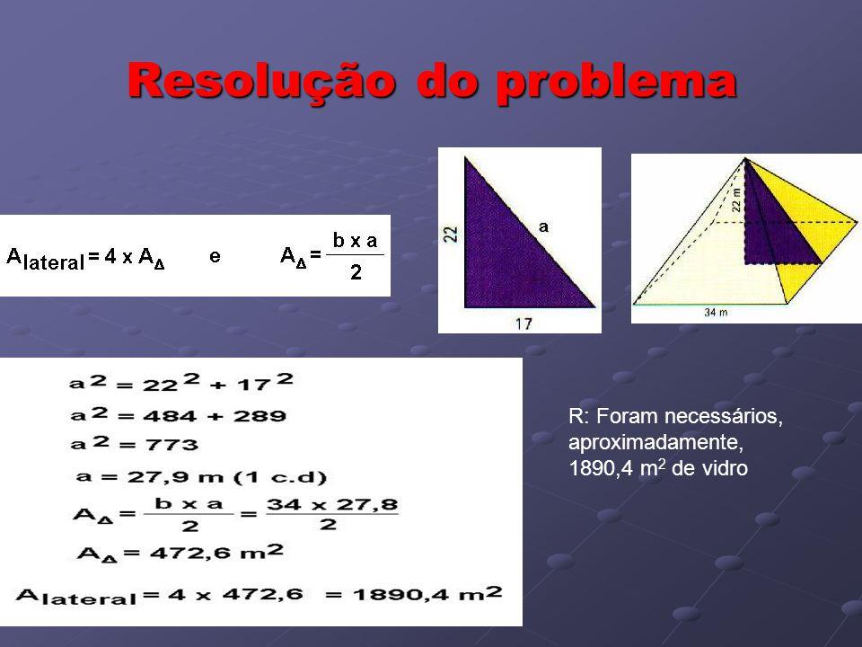 Resolução do problema R: Foram necessários, aproximadamente, 1890,4 m 2 de vidro