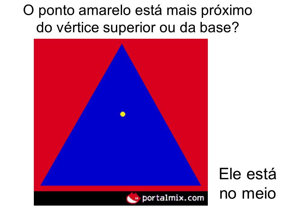 O ponto amarelo está mais próximo do vértice superior ou da base? Ele está no meio