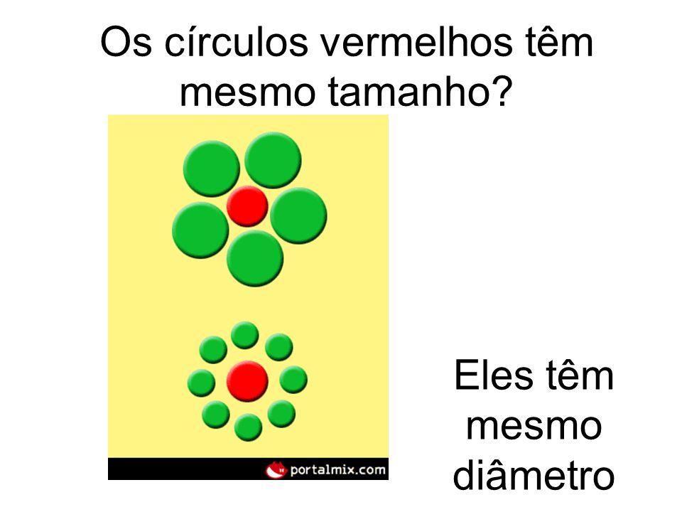 Os círculos vermelhos têm mesmo tamanho? Eles têm mesmo diâmetro
