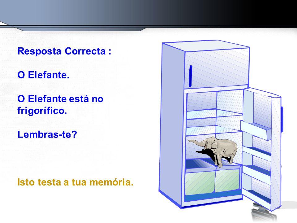 Resposta Correcta : O Elefante. O Elefante está no frigorífico. Lembras-te? Isto testa a tua memória.