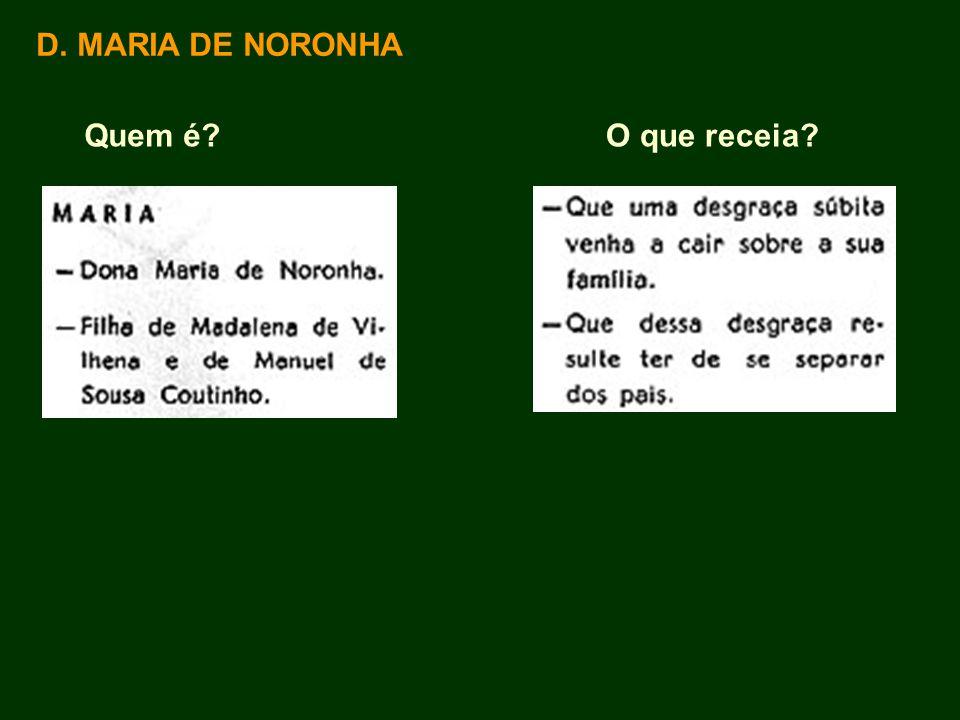 D. MARIA DE NORONHA Quem é?O que receia?
