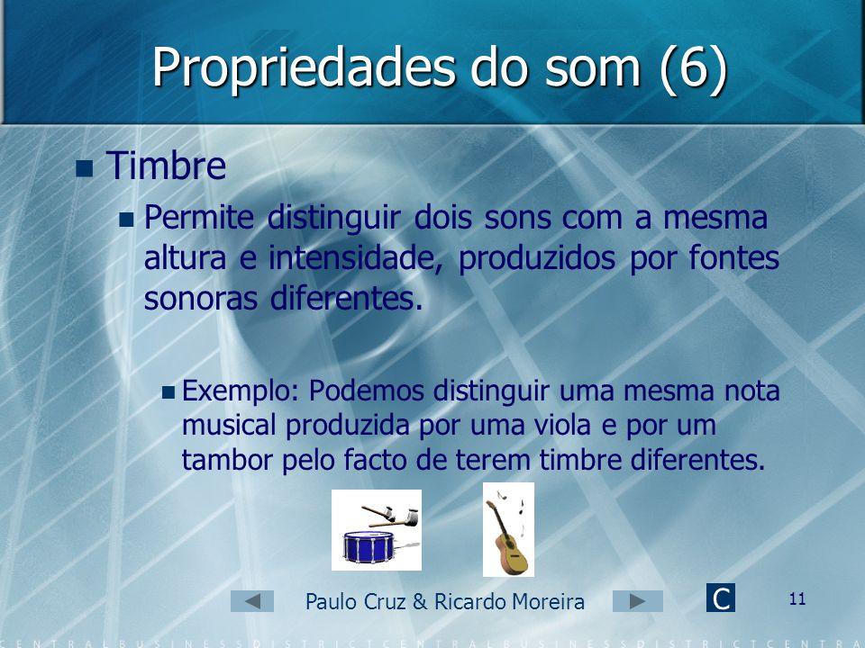 Paulo Cruz & Ricardo Moreira 10 Propriedades do som (5) Assim: Quanto maior a amplitude da onda sonora, mais forte será o som. Quanto menor a amplitud