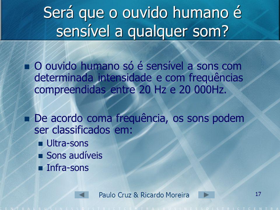 Paulo Cruz & Ricardo Moreira 16 Os sons são: Capturados no ouvido externo. Amplificados no ouvido médio. Levados ao cérebro, que os interpreta, no ouv