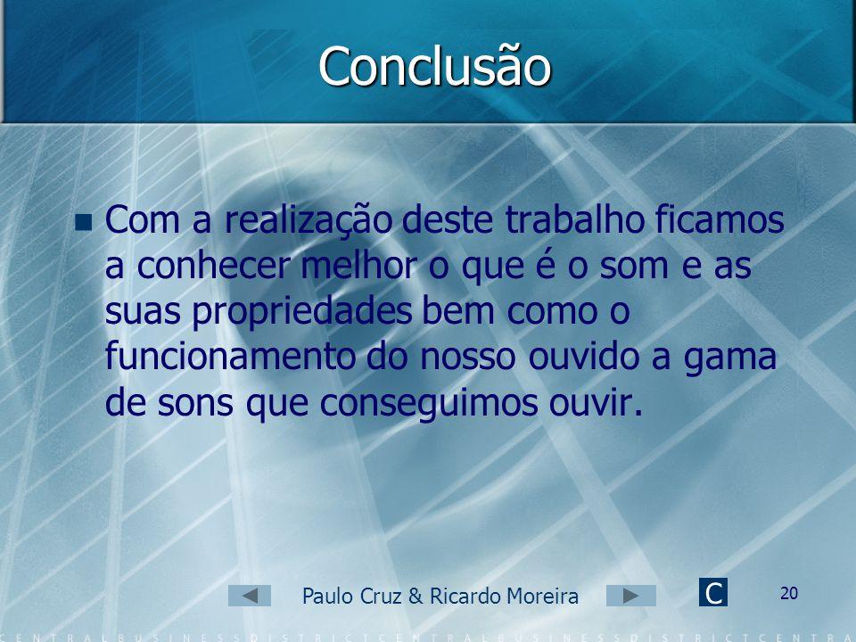 Paulo Cruz & Ricardo Moreira 19 Será que o ouvido humano é sensível a qualquer som? (3) C Sons inaudíveis para o ser humano, mas que o são para os mor