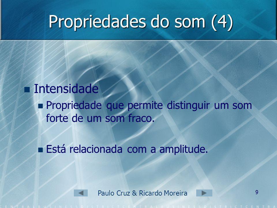 Paulo Cruz & Ricardo Moreira 8 Propriedades do som (3) Assim: Quanto maior a frequência da onda sonora, mais agudo será o som. Quanto menor a frequênc