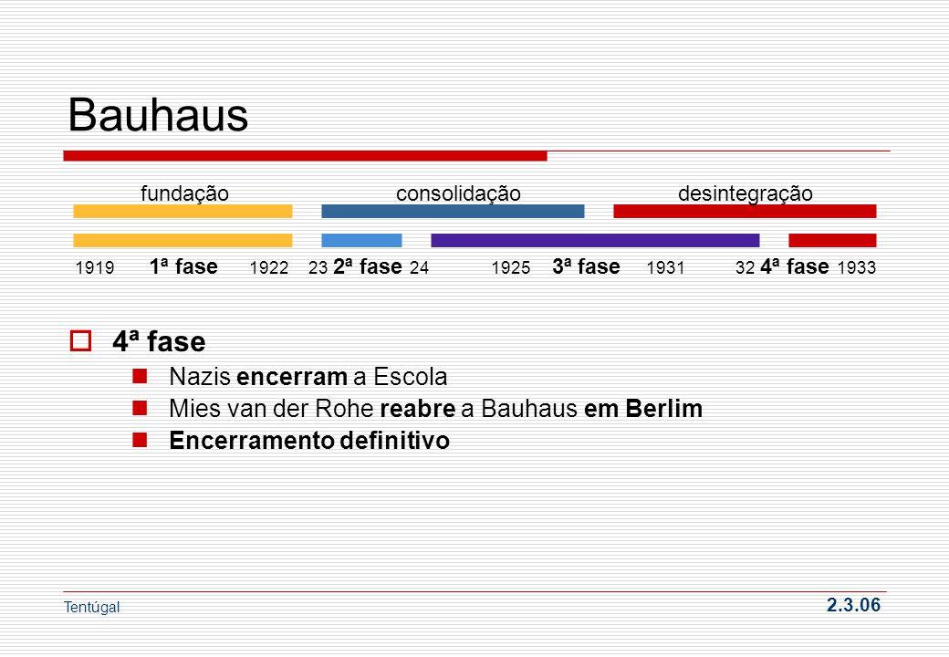 Bauhaus 4ª fase Nazis encerram a Escola Mies van der Rohe reabre a Bauhaus em Berlim Encerramento definitivo Tentúgal 2.3.06 fundação consolidação des