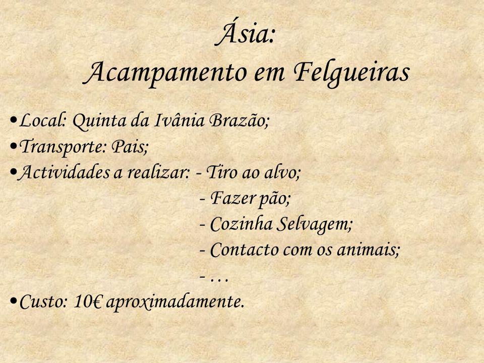 Ásia: Acampamento em Felgueiras Local: Quinta da Ivânia Brazão; Transporte: Pais; Actividades a realizar: - Tiro ao alvo; - Fazer pão; - Cozinha Selva