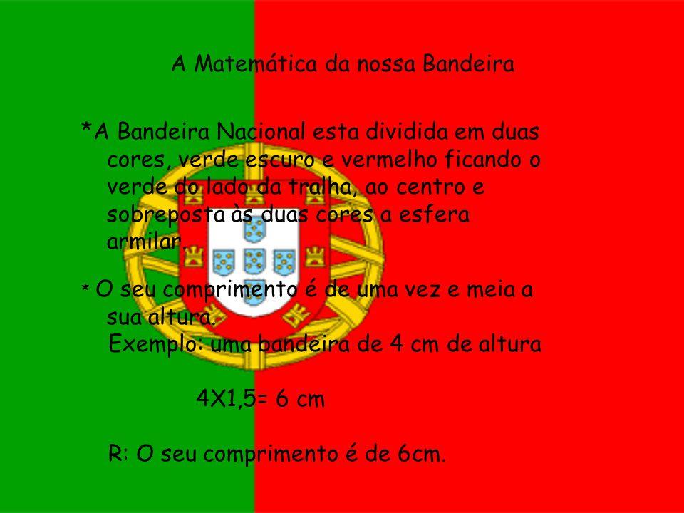 A Matemática da nossa Bandeira *A Bandeira Nacional esta dividida em duas cores, verde escuro e vermelho ficando o verde do lado da tralha, ao centro