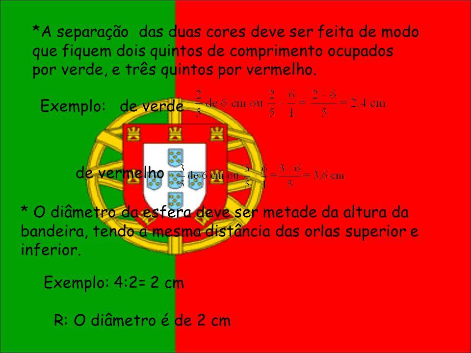 *A separação das duas cores deve ser feita de modo que fiquem dois quintos de comprimento ocupados por verde, e três quintos por vermelho. Exemplo: de