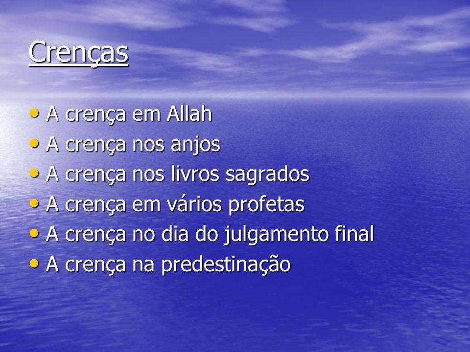 Crenças A crença em Allah A crença em Allah A crença nos anjos A crença nos anjos A crença nos livros sagrados A crença nos livros sagrados A crença e