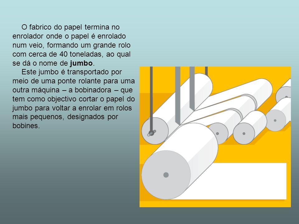 O fabrico do papel termina no enrolador onde o papel é enrolado num veio, formando um grande rolo com cerca de 40 toneladas, ao qual se dá o nome de j