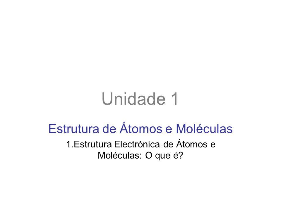 Unidade 1 Estrutura de Átomos e Moléculas 1.Estrutura Electrónica de Átomos e Moléculas: O que é?
