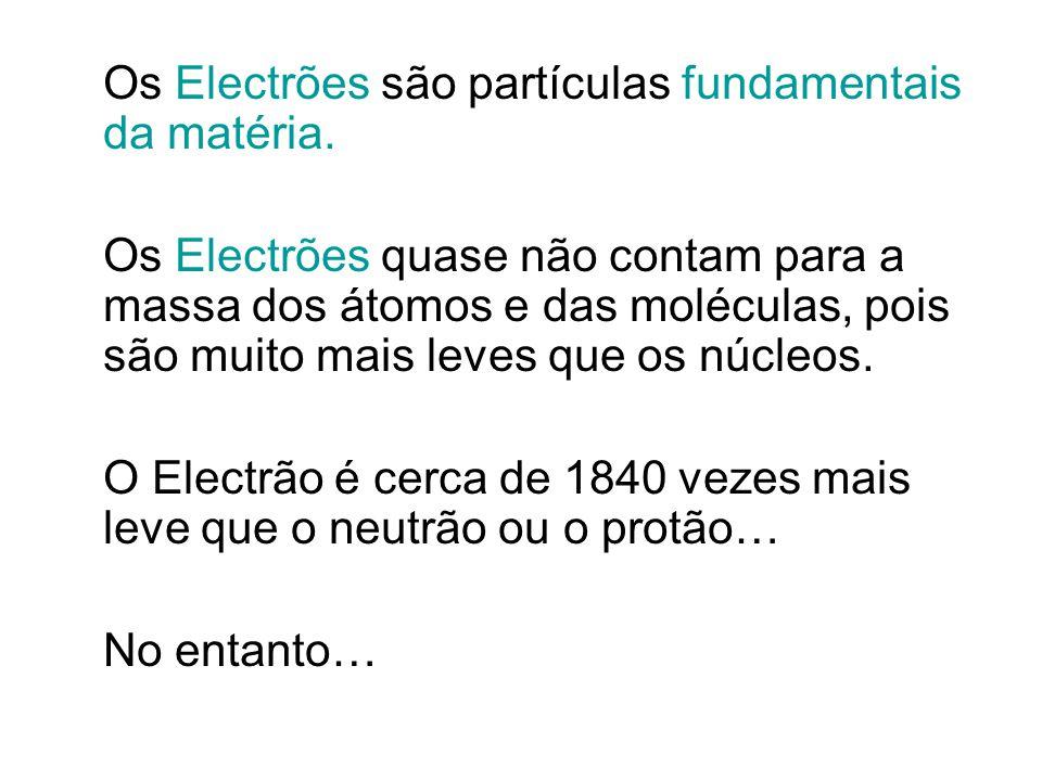 Os Electrões são partículas fundamentais da matéria. Os Electrões quase não contam para a massa dos átomos e das moléculas, pois são muito mais leves