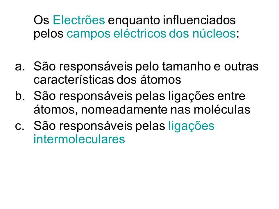 Os Electrões enquanto influenciados pelos campos eléctricos dos núcleos: a.São responsáveis pelo tamanho e outras características dos átomos b.São res