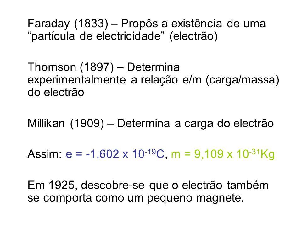 Faraday (1833) – Propôs a existência de uma partícula de electricidade (electrão) Thomson (1897) – Determina experimentalmente a relação e/m (carga/ma