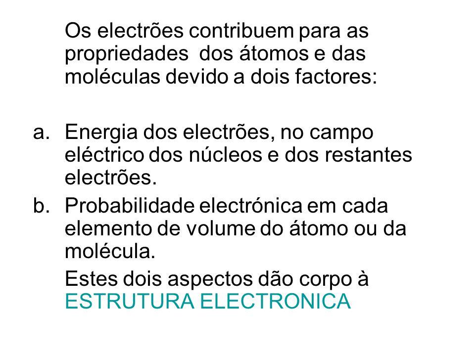 Os electrões contribuem para as propriedades dos átomos e das moléculas devido a dois factores: a.Energia dos electrões, no campo eléctrico dos núcleo