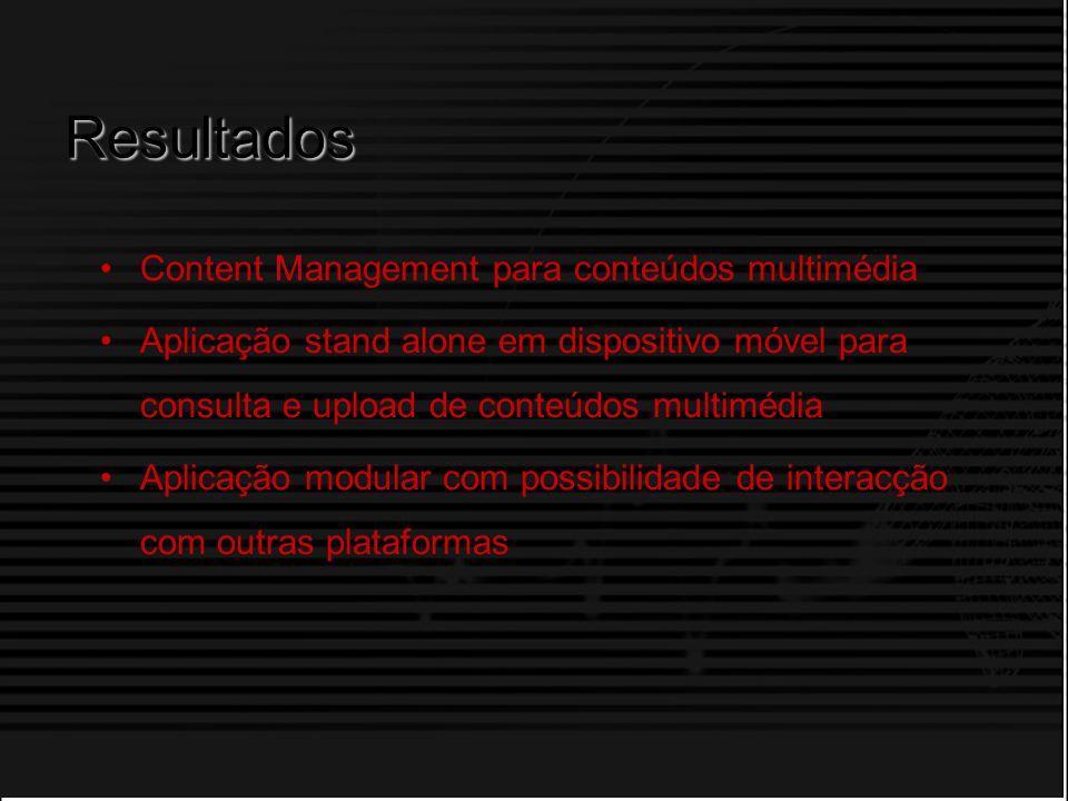Licenciatura em Informática ISTEC António Fonseca Resultados Content Management para conteúdos multimédia Aplicação stand alone em dispositivo móvel p