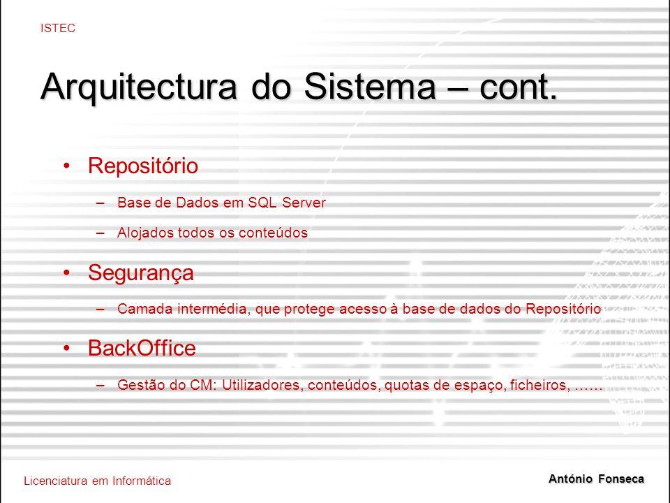 Licenciatura em Informática ISTEC António Fonseca Arquitectura do Sistema – cont. Repositório –Base de Dados em SQL Server –Alojados todos os conteúdo
