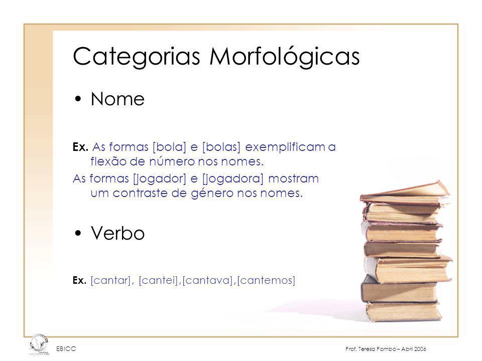 Categorias Morfológicas Nome Ex. As formas [bola] e [bolas] exemplificam a flexão de número nos nomes. As formas [jogador] e [jogadora] mostram um con