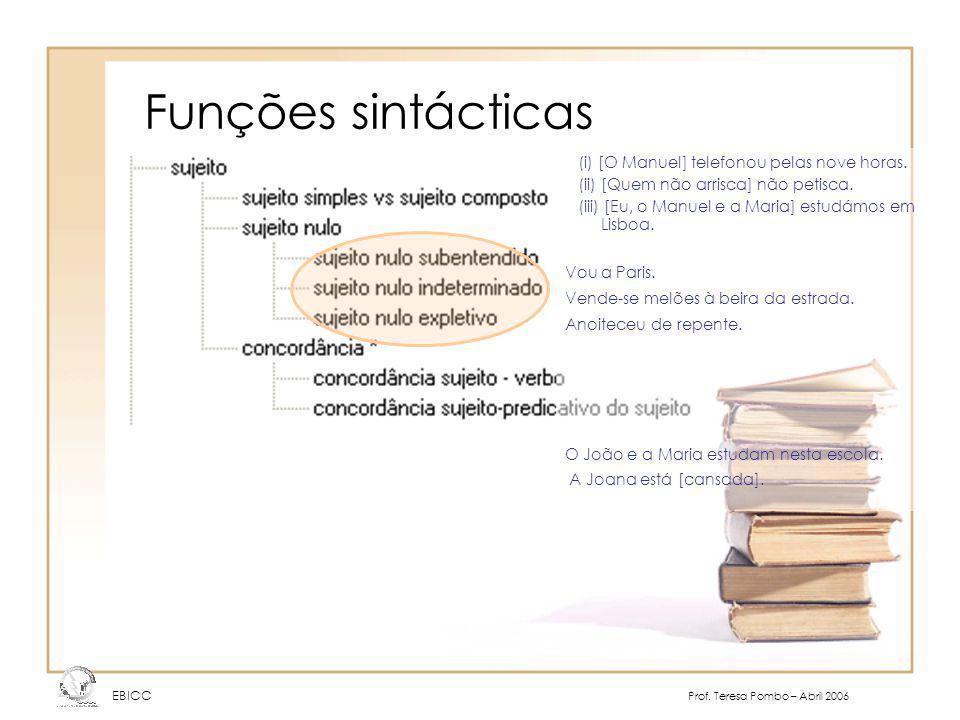 Funções sintácticas EBICC Prof. Teresa Pombo – Abril 2006 (i) [O Manuel] telefonou pelas nove horas. (ii) [Quem não arrisca] não petisca. (iii) [Eu, o