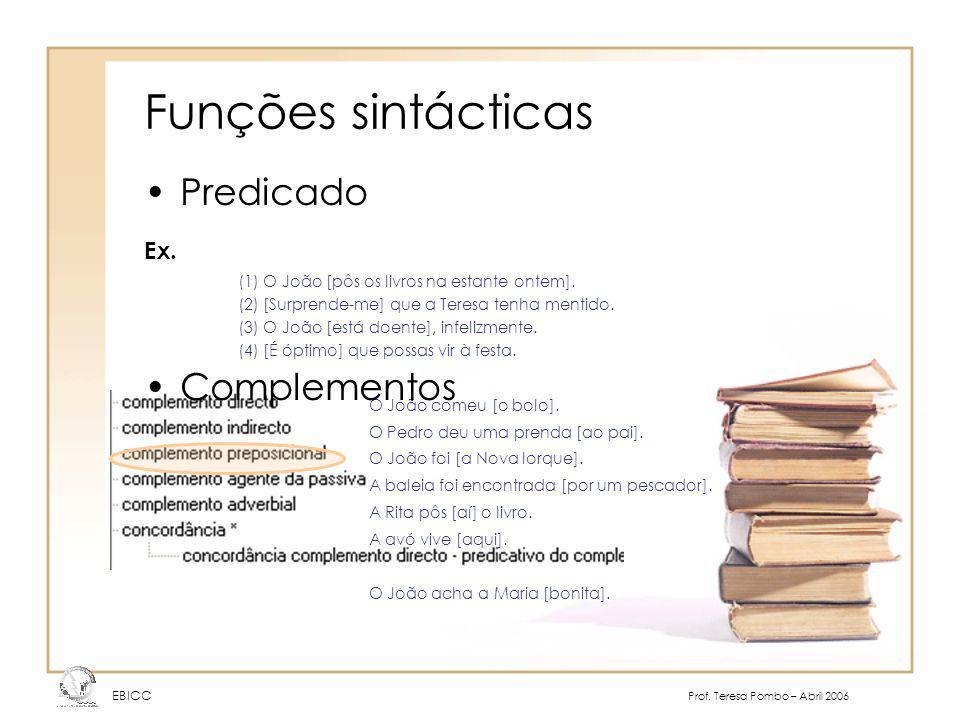 Funções sintácticas EBICC Prof.Teresa Pombo – Abril 2006 Modificador –Preposicional Ex.