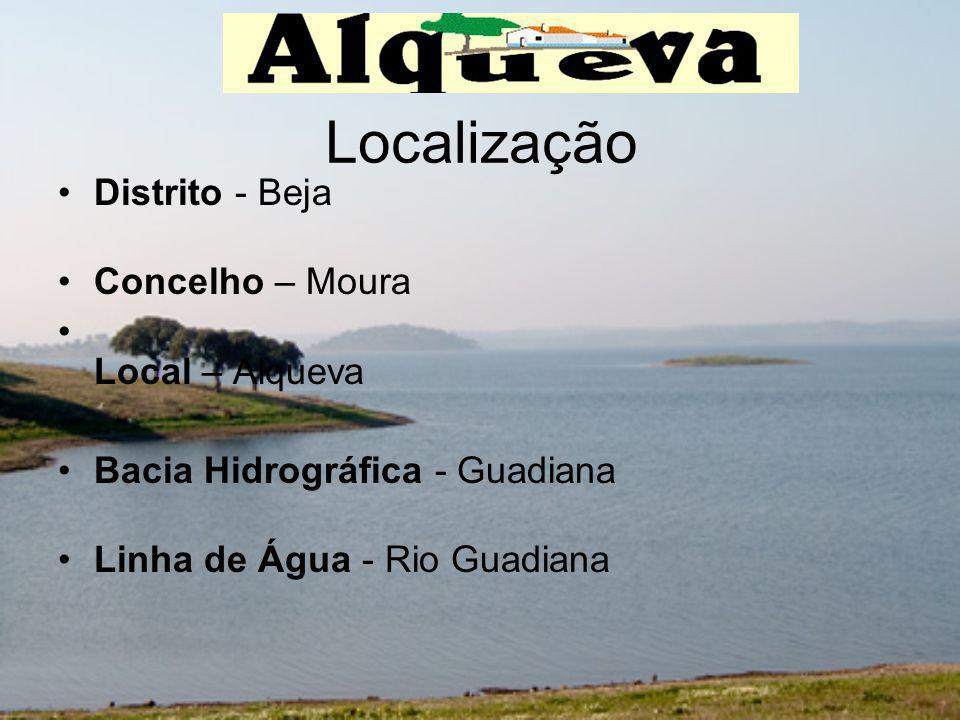 Localização Distrito - Beja Concelho – Moura Local – Alqueva Bacia Hidrográfica - Guadiana Linha de Água - Rio Guadiana