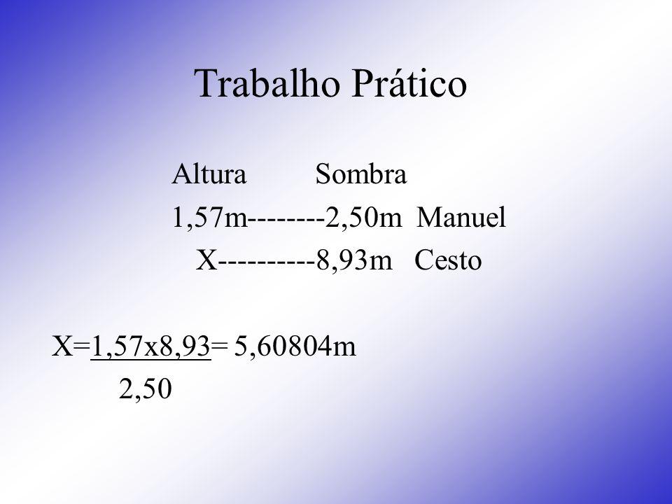 Trabalho Prático Altura Sombra 1,57m--------2,50m Manuel X----------8,93m Cesto X=1,57x8,93= 5,60804m 2,50