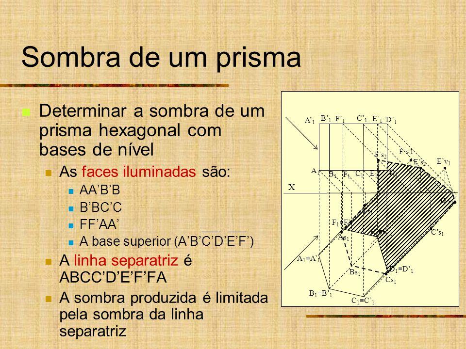 Sombra de um prisma Determinar a sombra de um prisma hexagonal com bases de nível As faces iluminadas são: AABB BBCC FFAA A base superior (ABCDEF) A linha separatriz é ABCCDEFFA A sombra produzida é limitada pela sombra da linha separatriz X A 1 Ds 1 Es 2 Cs 1 As 1 B 1 C 1 D 1 E 1 F 1 A1A1 A1A1 B1B1 C1C1 D1D1 E1E1 F1F1 B1B1 C1C1 D1D1 E1E1 F1F1 Bs 1 Fs 1 Fs 2 Cs 1 Ev 1 Fv1